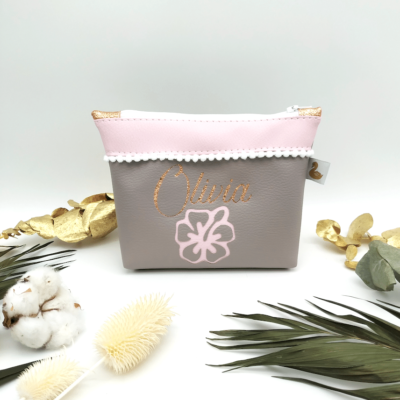 Trousse à maquillage, Hibiscus rose gris et rose gold, tissus pink blossom